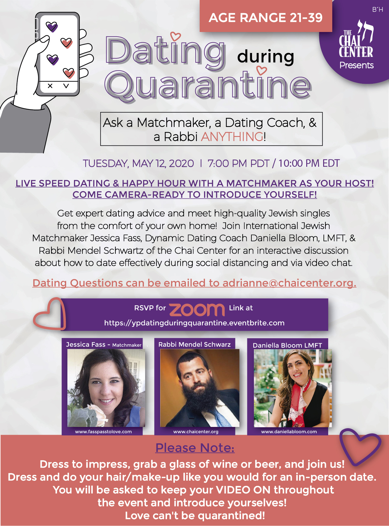 Dating During Quarantine: Ask a Matchmaker, a Dating Coach, & a Rabbi ANYTHING!