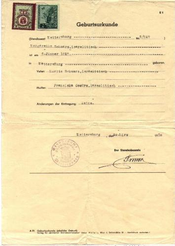 Greta's Birth Certif