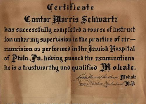 Morris Schwartz's 'Mohel' Certificate
