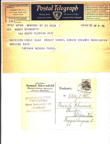Telegram, 1940 The Schwartz children departed on the USS Washington, from Genea, Italy, bound for NYC